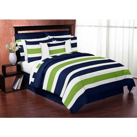 Navy & Lime Stripe Bedding Set - 4 Piece Twin Size By Sweet Jojo Designs