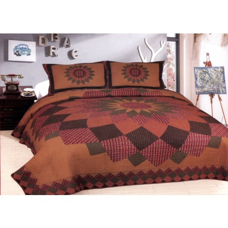 Alexandra Dahlia King Size Quilt Set - Includes 2 Standard Pillow Shams