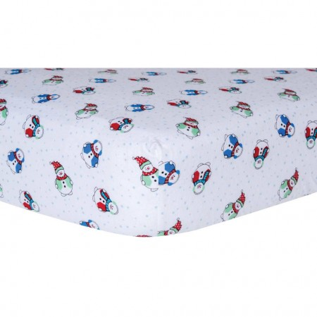 Snowman Deluxe Flannel Fitted Crib Sheet