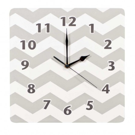 Dove Gray Chevron Wall Clock