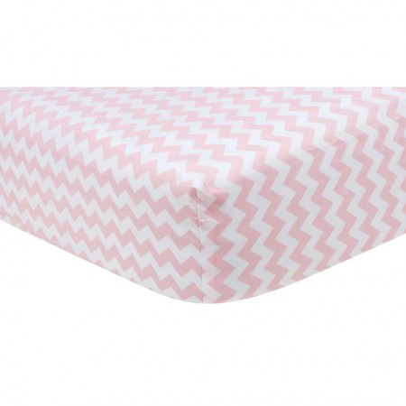 Pink Sky Chevron Crib Sheet