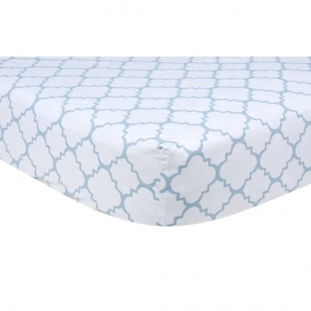 Blue Sky Quatrefoil Crib Sheet