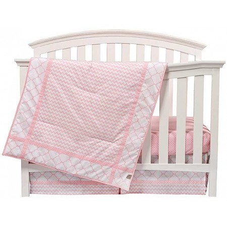 Pink Sky 3 Piece Crib Bedding Set