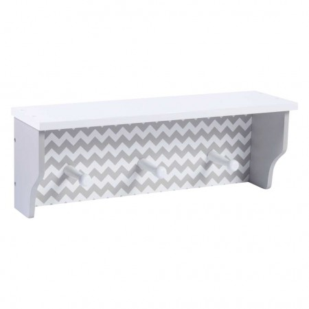 Dove Gray Chevron Shelf with Pegs