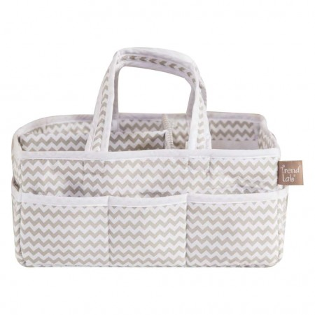 Dove Gray Chevron Storage Caddy