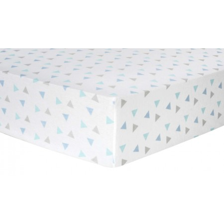 Mint Triangles Deluxe Flannel Fitted Crib Sheet