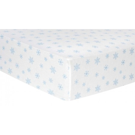 Blue Snowflakes Deluxe Flannel Fitted Crib Sheet