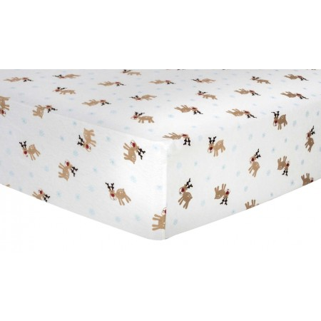 Reindeer Deluxe Flannel Fitted Crib Sheet
