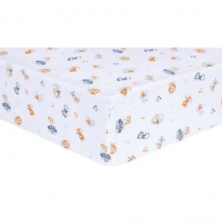 Safari Rock Band Animals Fitted Crib Sheet
