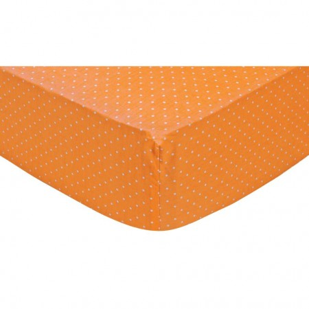Orange Dot Fitted Crib Sheet
