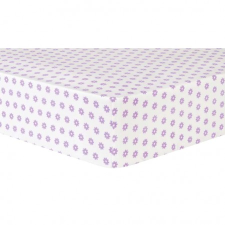 Lilac Flower Dot Deluxe Flannel Fitted Crib Sheet