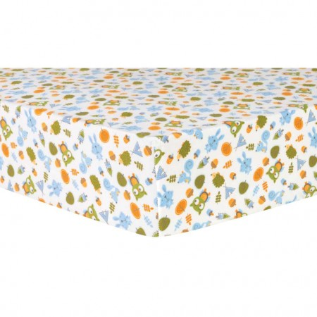 Animal Tepee Deluxe Flannel Fitted Crib Sheet