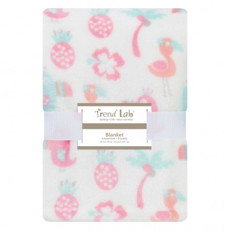 Tropical Pastel Plush Baby Blanket