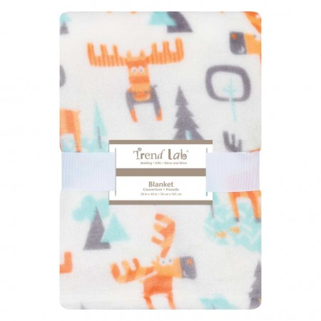 Woodland Moose Plush Baby Blanket