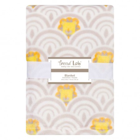Art Deco Lions Scallop Plush Baby Blanket
