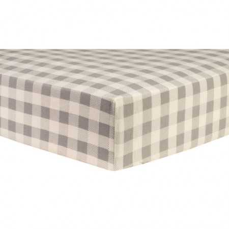 Gray and Cream Buffalo Check Deluxe Flannel Fitted Crib Sheet