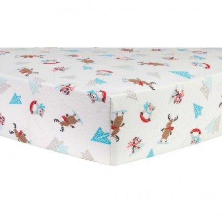Frosty Fun Deluxe Flannel Fitted Crib Sheet