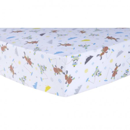 Gone Ice Fishing Deluxe Flannel Fitted Crib Sheet