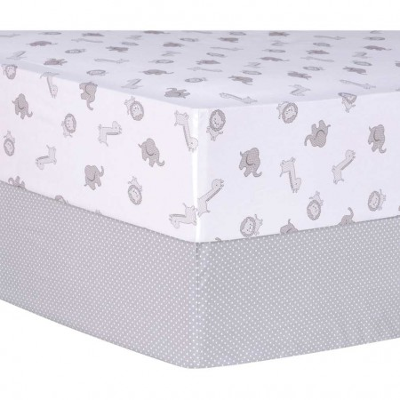 Gray Safari and Dot 2 Pack Fitted Crib Sheets