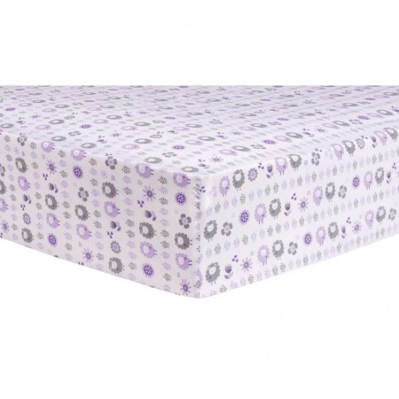 Lambs and Flowers Fitted Crib Sheet