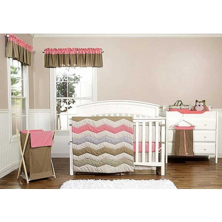 COCOA CORAL - 3 PIECE CRIB BEDDING SET