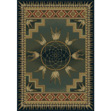 Dream Catcher Green Area Rug - Southwestern Style Area Rug