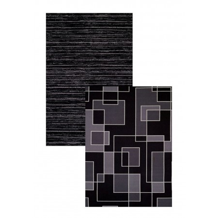"Blocked Out Hombre Black Area Rug (60"" X 83"")"