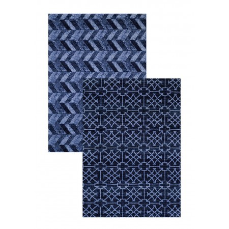 "Cubic Wave Blue Area Rug (60"" X 83"")"
