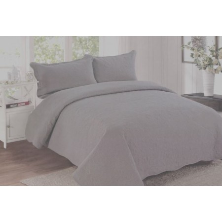 Harmonious Mist Grey King Size Quilt Set - Includes 2 Standard Pillow Shams