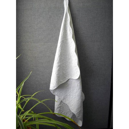 Harmonious Mist Throw Size Quilt - White Baby Blanket