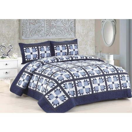 Blue Whitney Quilt Set - Full/Queen Size - Includes Shams