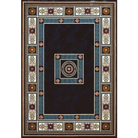 ORIENTAL BORDER NAVY BLUE Area Rug - Traditional Style Area Rug