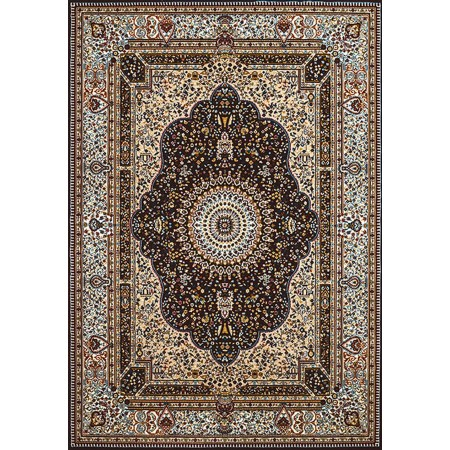HERIZ DARK BROWN Area Rug - Traditional Style Area Rug