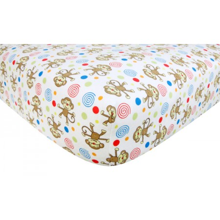 Monkeys Deluxe Flannel Fitted Crib Sheet