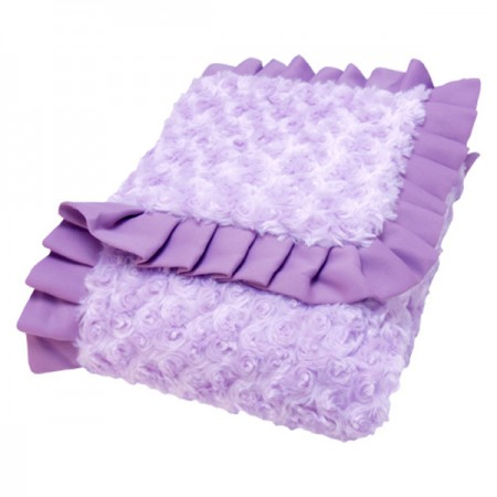 RECEIVING BLANKET - RUFFLE TRIMMED LILAC AND PLUM SWIRL VELOUR