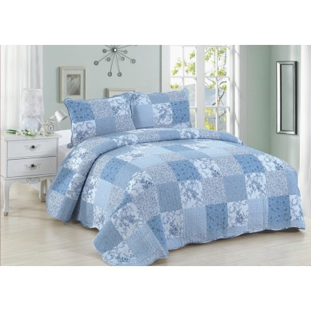 Blue Patch Quilt Set - Queen Size - Includes Shams
