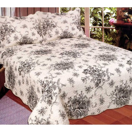 French Country Quilt - Black - Full/Queen Size
