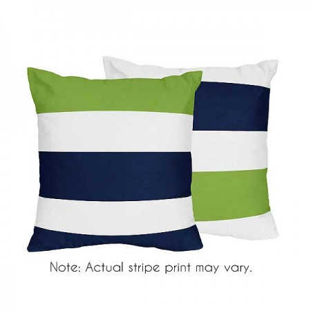 Navy & Lime Stripe Accent Pillows - Set of 2