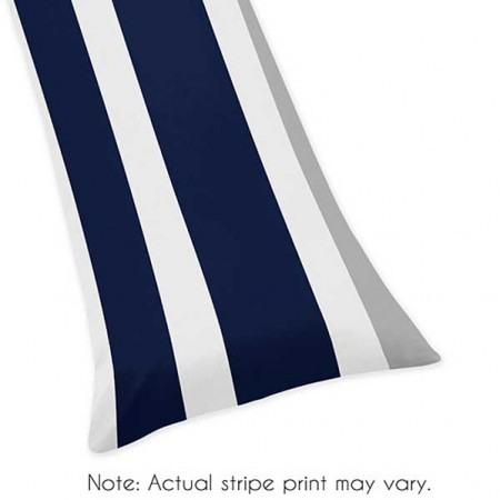 Navy & Gray Stripe Body Pillow Cover