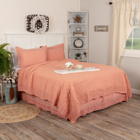 Adelia Apricot Quilt - Queen Size