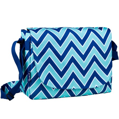 Chevron Blue Laptop Messenger Bag