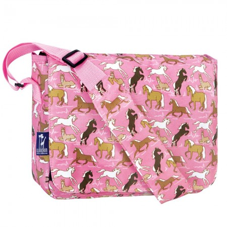 Horses in Pink 13 Inch x 10 Inch Messenger Bag