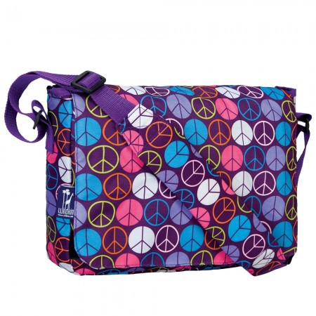Peace Signs Purple 13 Inch x 10 Inch Messenger Bag