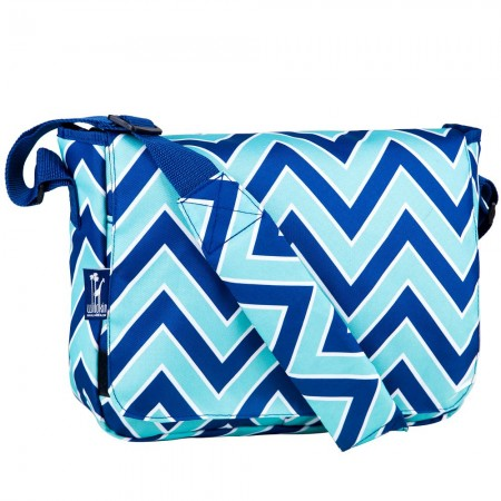 Chevron Blue 13 Inch x 10 Inch Messenger Bag