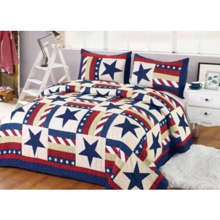 Star Spangled Banner Quilt Set - Full/Queen Size - includes 2 Standard Pillow Shams