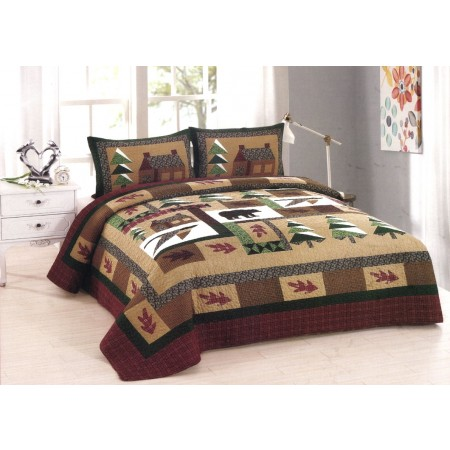 Winter Cabin Quilt Set - Full/Queen Size - Includes (2) Pillow Shams