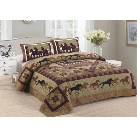 Horse Country Quilt Set - King Size - Includes Shams
