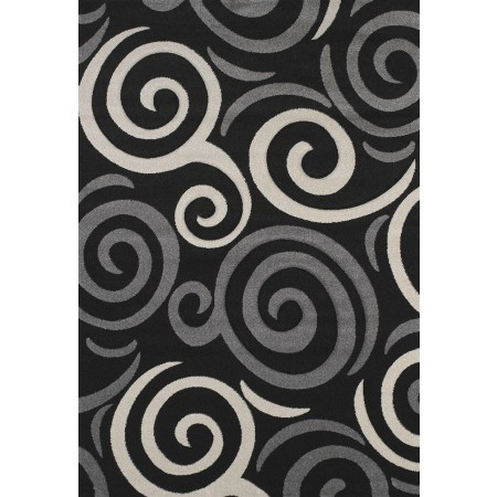 Pinball Black Area Rug - Contemporary Style
