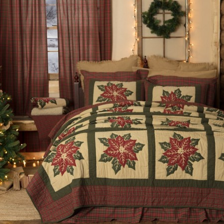 National Quilt Museum Poinsettia Block Quilt - Twin Size