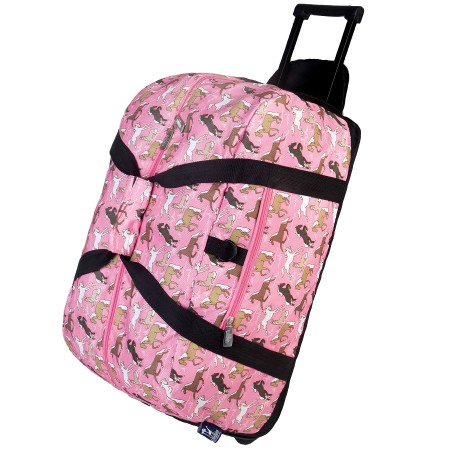 Horses in Pink Rolling Duffel Bag